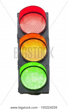 a Isolated traffic light on white background