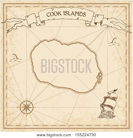 Cook Islands Old Treasure Map. Sepia Engraved Template Of Pirate Island Parchment. Stylized Manuscri