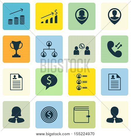 Set Of Management Icons On Business Woman, Successful Investment And Female Application Topics. Edit