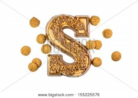 Decorated Chocolate Letter With Ginger Nuts Or Pepernoten