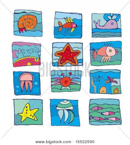 Sea marine underwater icons. 