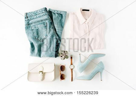 woman trendy fashion clothes collage on white flat lay top view