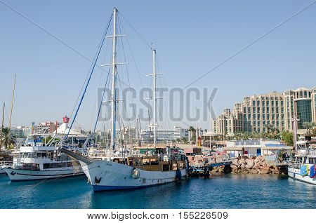 The Boats In Bay Of Eilat. Israel