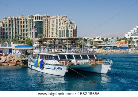The Catamaran In Bay Of Eilat. Israel