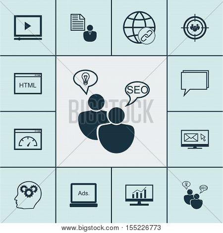 Set Of Marketing Icons On Conference, Seo Brainstorm And Brain Process Topics. Editable Vector Illus