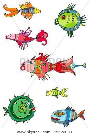 Colorful cute fishes.  To see similar design elements, please VISIT MY GALLERY.