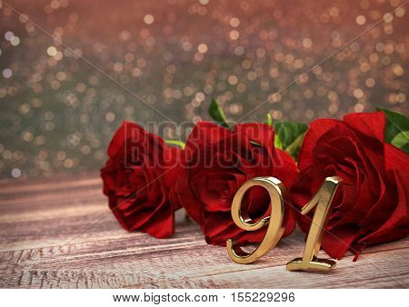 birthday concept with red roses on wooden desk. 3D render - ninety-first birthday. 91st