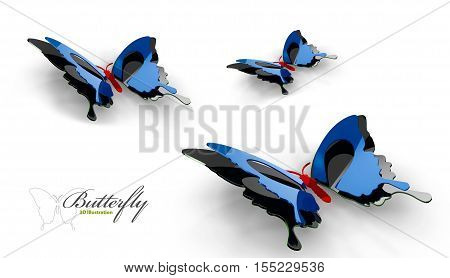 3d Illustration Collection watercolor of flying butterflies.
