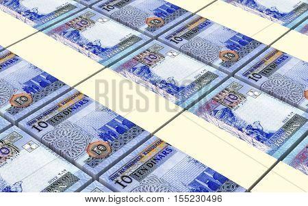 Jordanian dinars bills stacked background. 3D illustration.