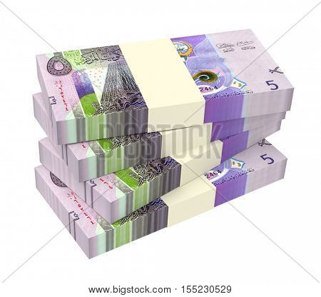 Kuwait dinars bills isolated on white background. 3D illustration.