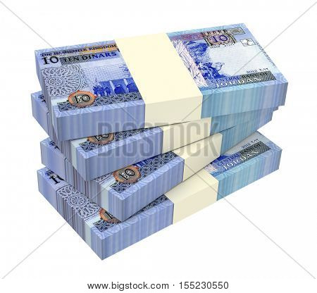 Jordanian dinars bills isolated on white background. 3D illustration.