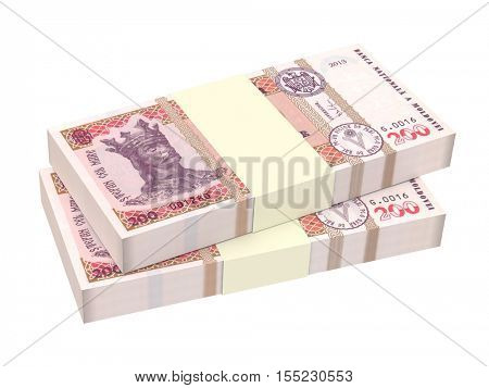 Moldovan leu bills isolated on white background. 3D illustration.