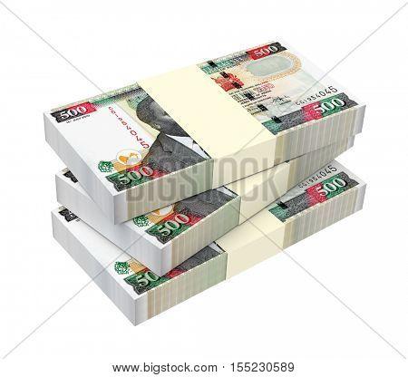 Kenyan shillings isolated on white background. 3D illustration.