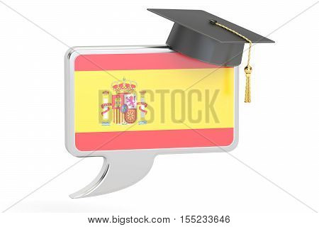 Speech bubble with Spanish flag learning concept. 3D rendering