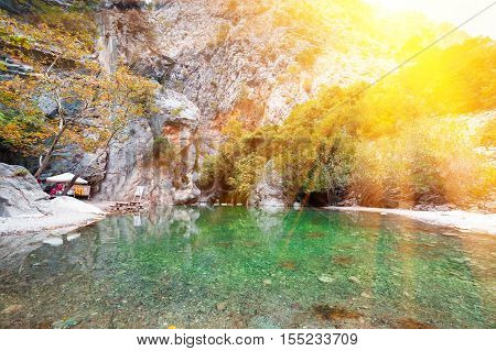 Picturesque scene in Goynuk canyon, located in District of Kemer, Antalya Province. Beautiful sunrise scenery in Turky, Asia poster