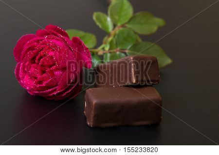Beautiful Red Rose With Dew Drops And Chocolate Candy