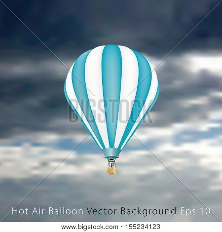 blue hot air balloon in clouds