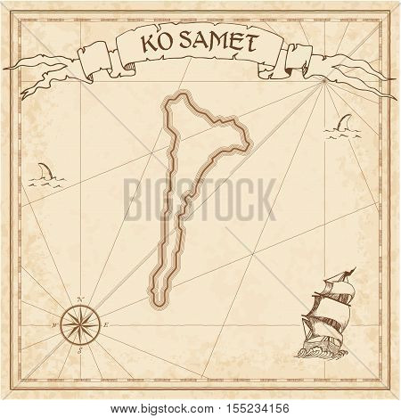 Ko Samet Old Treasure Map. Sepia Engraved Template Of Pirate Island Parchment. Stylized Manuscript O