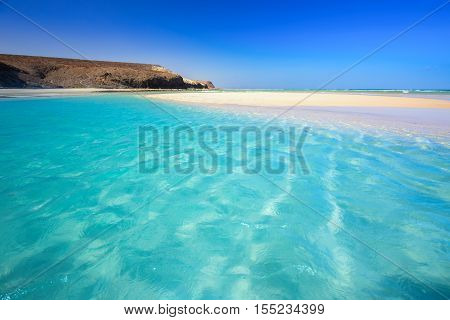 Island with sandy beach green lagoon and clear water Fuerteventura Canary island Spain.