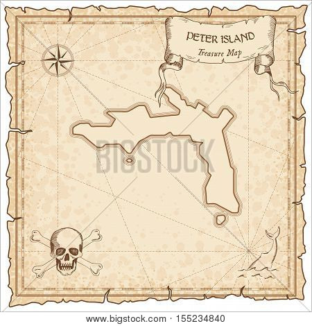 Peter Island Old Pirate Map. Sepia Engraved Parchment Template Of Treasure Island. Stylized Manuscri