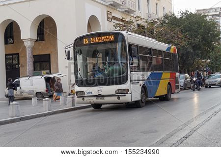 Thessaloniki, Greece - November 05 2016: Mini bus public transport by OASTH. A mini bus at Aristotelous square operated by OASTH, Organization of Urban Transportation of Thessaloniki.