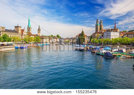 View Of Historic Zurich City Center With Famous Fraumunster Church, Limmat River And Zurich Lake, Zu