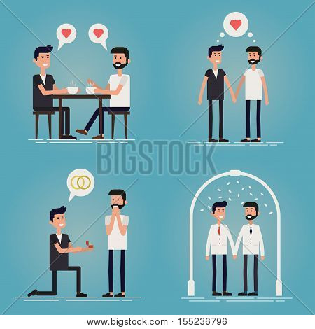 Gay relationship story of a young couple concept vector illustration. 4 scene love story. Two guys meet each other in cafe have a date and become boyfriends then marriage proposal and wedding. LGBT.