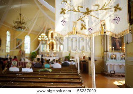Liturgy in bright sunny church  on summer day