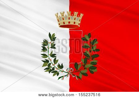 Flag of L'Aquila is a city and comune in Central Italy of the Province of L'Aquila. 3d illustration