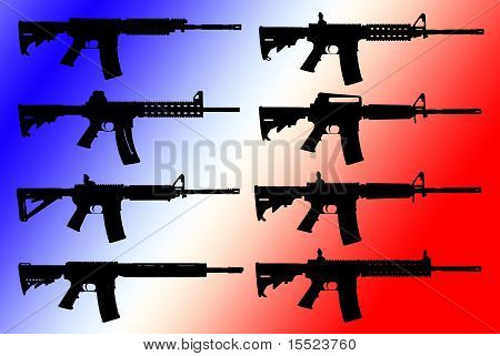 Vector Set Of Guns Silhouette