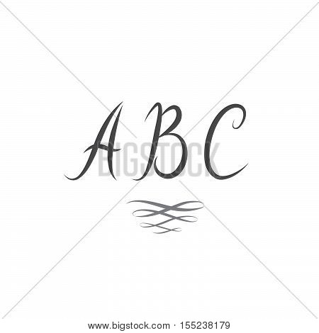 ABC. Latin Letters. Handwritten Vintage ABC with swirl decor element