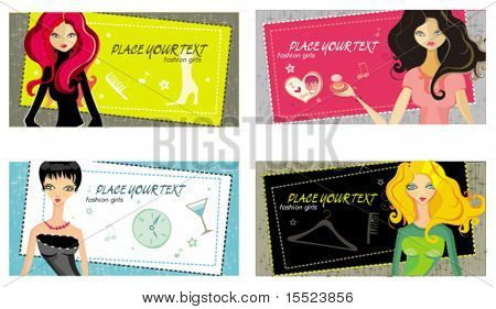 Vector girls cards. To see similar, please VISIT MY GALLERY.