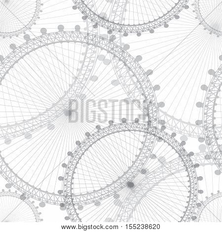 Abstract lacy geometric seamless pattern. Circle ornamental background. Abstract vintage gear hi-tech engineering digital telecoms technology concept with white background