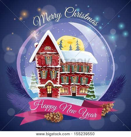 Christmas greeting card  with magic house at night lights background and happy new year wishing flat vector illustration