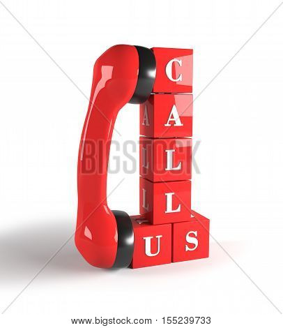 Red cubes with phone handle. Call us. 3D rendering.