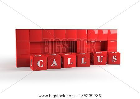 Call us word assembled from red cubes with clipping paths. 3D rendering