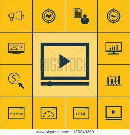 Set Of Advertising Icons On Report, Keyword Optimisation And Video Player Topics. Editable Vector Il