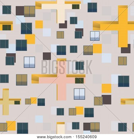 Abstract seamless pattern set : urban rhythm on white background.