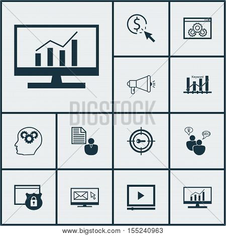 Set Of Advertising Icons On Security, Media Campaign And Keyword Marketing Topics. Editable Vector I