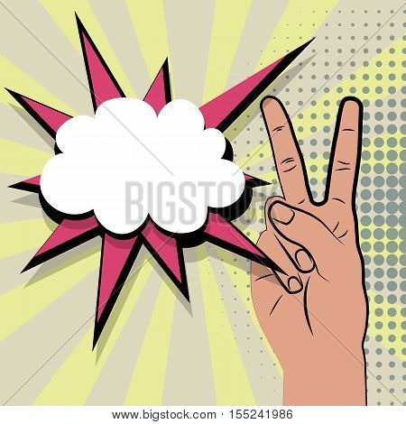 Hand peace sign comic retro pop art style white bubble. Cartoon comic vector colored speech bubble. Halftone hand drawn peace, ok sign. Positive hippie hand signs multi colored pop art background