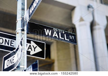 Wall Street Sign In Lower Manhattan, New York