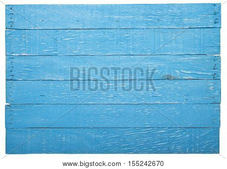 Backdrop of rough threadbare wooden planks, painted in blue color. Isolated on the white background no shadow.