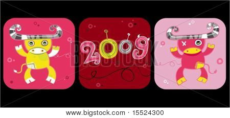 2009 cartoon ox - new year symbols. To see similar, please VISIT MY GALLERY.