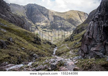 Glen Coe Highlands scotland in nature uphill crossing waterfall for panorama view 2