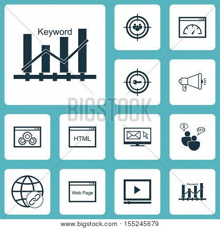 Set Of Seo Icons On Seo Brainstorm, Website And Media Campaign Topics. Editable Vector Illustration.