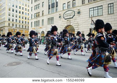 New York, Usa - March 17, 2015: The Annual St. Patrick's Day Parade Along Fifth Avenue In New Yo