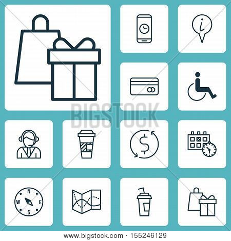 Set Of Travel Icons On Shopping, Locate And Operator Topics. Editable Vector Illustration. Includes