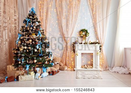 Merry christmas and new year background. Classic green tree decorated in christmas toys. Room interior with fireplace