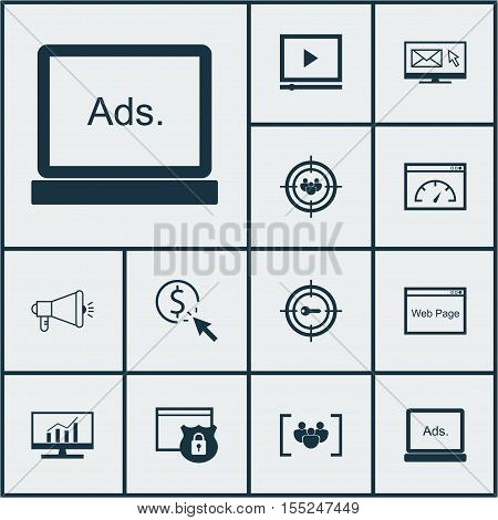 Set Of Seo Icons On Keyword Marketing, Video Player And Questionnaire Topics. Editable Vector Illust