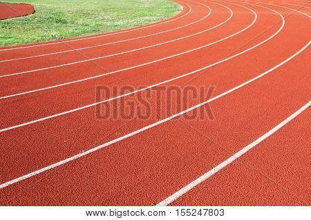 running track in sport field for design